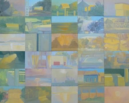 Kalas Zsuzsa: Részletek egy sárga magánéletéből (vázlatsorozat), 2011-2012,  vegyestechnika