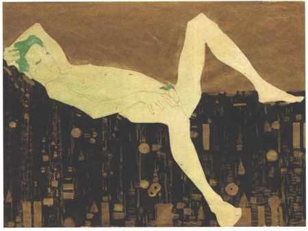 2. kép: Egon Schiele: Mintás takarón fekvő fiú, 1908