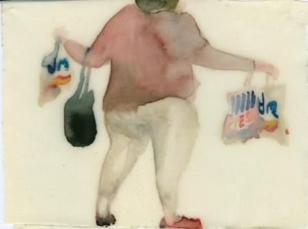 Szabó Eszter: a Mennyibe kerül egy kiló párizsi? sorozatból, 2008, akvarell, latex, 15 cm × 12 cm