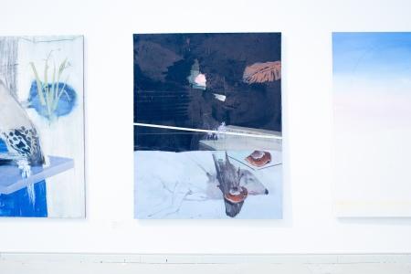 Kaliczka Patrícia: A gepárd növekedése lila (részlet), 2013, vegyes technika; Lezuhant a hegy, 2013, olaj, vászon, fotó: Polhodzik Ádám