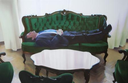 Fehér négyzet, 2009, olaj, vászon, 160 × 240 cm, a Knoll Galéria jóvoltából, Fotó: Tihanyi-Bakos