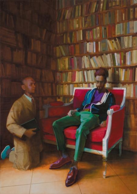 Szent Jeromos és egy ismeretlen, 2013, olaj, vászon, 170 x 120 cm, Zinsler Gyűjtemény, Ausztria, Fotó: Rosta József