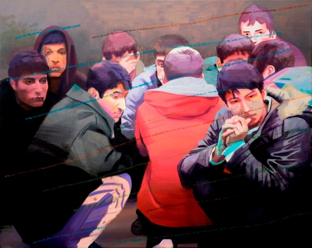 Tíz guggoló fiatal festőművész, 2012, olaj, vászon, 80 × 100 cm, a Knoll Galéria jóvoltából, Fotó: Tihanyi-Bakos