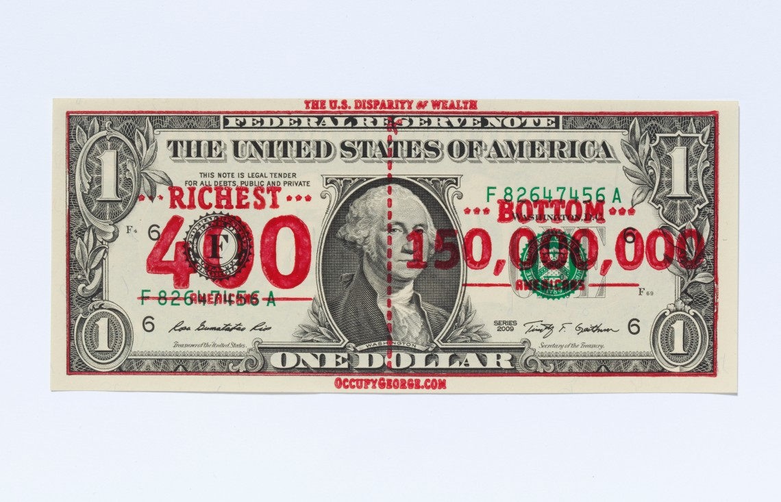 Andy Dao – Ivan Cash: Occupy George overprinted dollar bill, 2011 © V&A