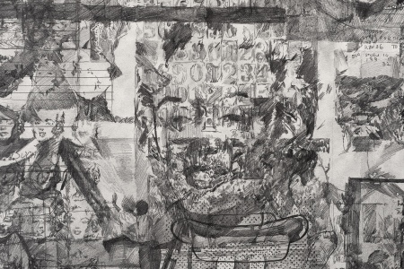 Ciprian Mureşan: Elaine Sturtevant könyvének minden oldala, 2014, papír, ceruza, 93 x 142 cm