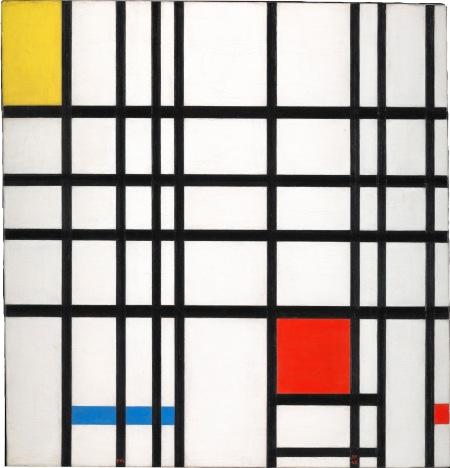 Piet Mondrian: Kompozíció sárgával, kékkel és pirossal, 1937–42, olaj, vászon, 72.7 × 69.2 cm © DACS, London/VAGA, New York 2014