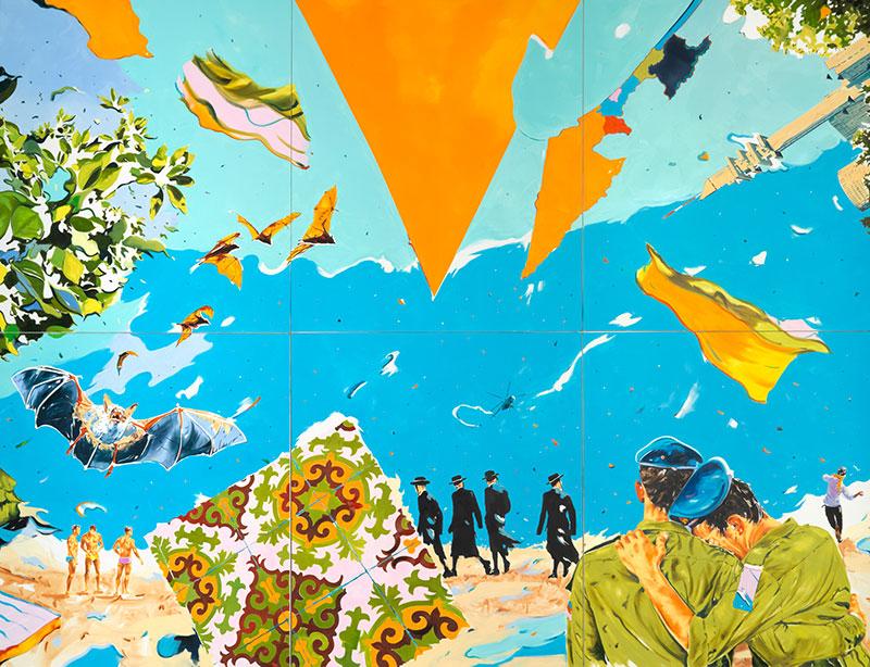 Norbert Bisky: Derech, 2015, olaj, vászon, 480 × 600 cm, Galerie Crone, Berlin, HGN Collection © Norbert Bisky, VG Bild-Kunst