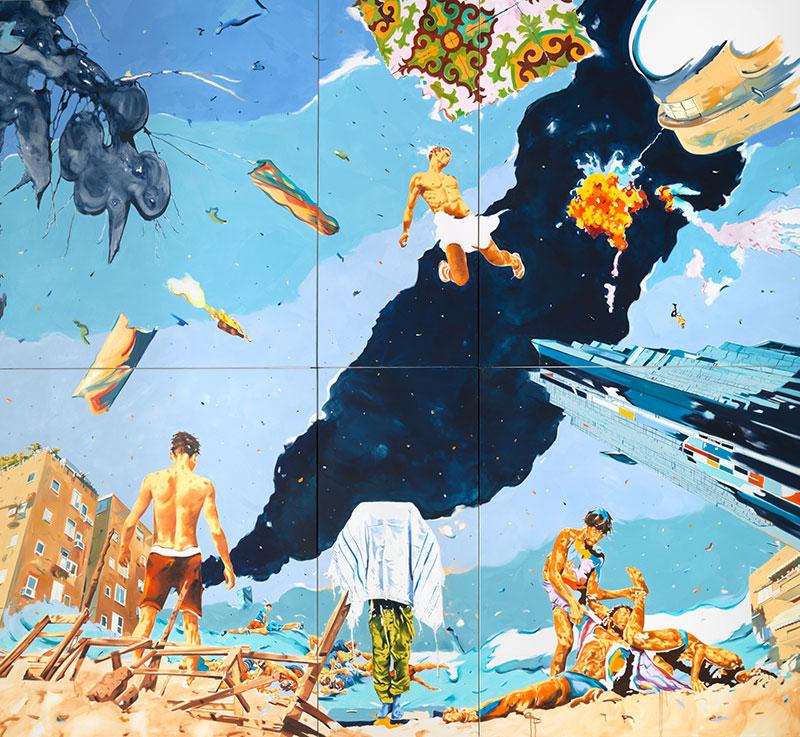 Norbert Bisky: Rehov, 2015, olaj, vászon, 480 × 500 cm, Galerie Crone, Berlin, HGN Collection © Norbert Bisky, VG Bild-Kunst
