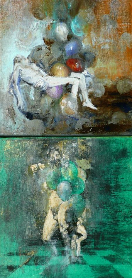 Pinczés József: Készülő Pietà; Az érő Bacchus, 2014–15, olaj, vászon, egyenként 20 × 20 cm