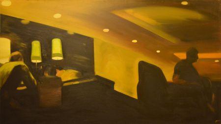 Este a kávéházban (Költők), 2009, olaj, vászon, 78 × 138 cm