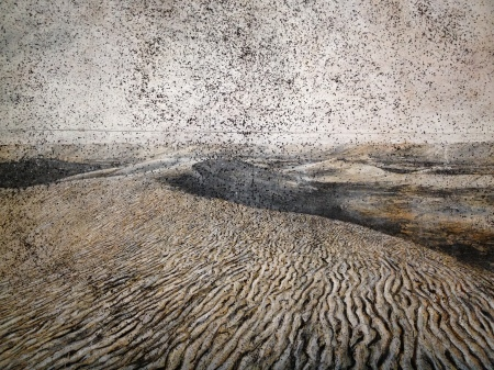 Anselm Kiefer: Cette obscure clarté qui tombe des étoiles, 2011, olaj, emulzió/emulsione, viasz, napraforgó mag, vászon, 610 × 760 cm