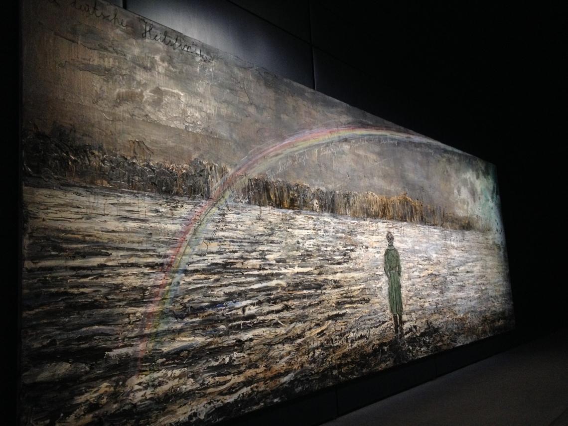 Anselm Kiefer: Die deutsche Heilslinie, 2012–2013, olaj, emulzió, viasz, homok, vászon, 380 × 1100 cm