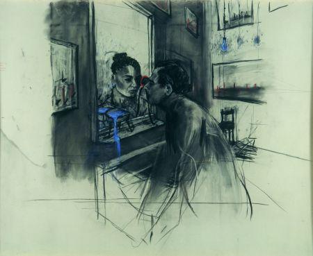 William Kentridge: Alakok szemtől szembe, rajz a Felix in exile című filmhez, 1994, fotó: Lars Lohrisch
