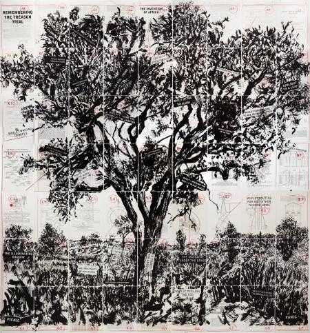 William Kentridge: Remembering the Treason Trial, 2013, litográfia, lenvászon, 63 tétel, 195 x 180 cm