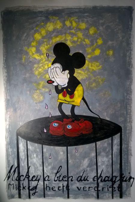 Ferenczy Zsolt: Mickey szomorú, papír, akril, színes ceruza, filctoll, 100 × 70 cm.