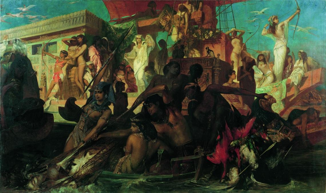 Hans Makart (1840–1884): Vadászat a Níluson, 1876, olaj, vászon, 275 × 456 cm, Belvedere, Bécs, fotó: © Belvedere, Wien