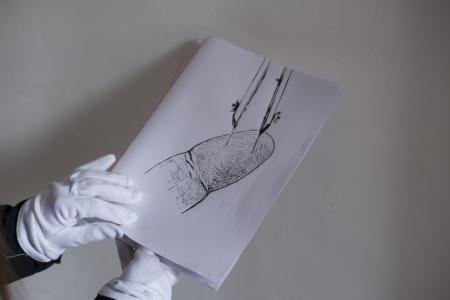 Az Add tovább... tereminstalláció részlete: Győri Blanka munkája